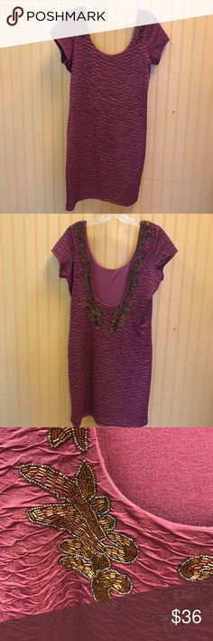 Free people dress large Free people dress low back with gorgeous beaded trim work size large Free People Dresses