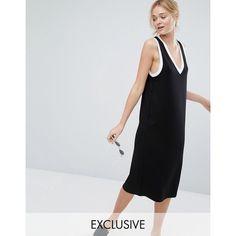 Monki Contrast Trim V Neck Midi Dress (60 AUD) ❤ liked on Polyvore featuring dresses, black, viscose dress, monki dresses, rayon dress, v neck midi dress and plunge neck midi dress