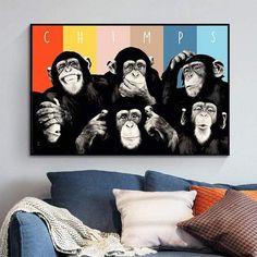 Tableau Animaux Monkey Crazy Chimps Tableau Pop Art, Black And White Portraits, Figure Painting, Art Oil, Canvas Art Prints, Les Oeuvres, Graffiti, Artist, Animals