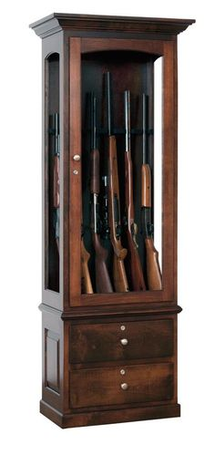 Heirloom 6 Gun Cabinet American Gun Cabinet Collection This Heirloom style gun cabinet is the perfect all around gun cabinet for the everyday hunter. With a capacity to store and display six rif