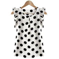 Trendy Scoop Neck Polka Dot Flounce Blouse For Women (WHITE,L) in Blouses | DressLily.com