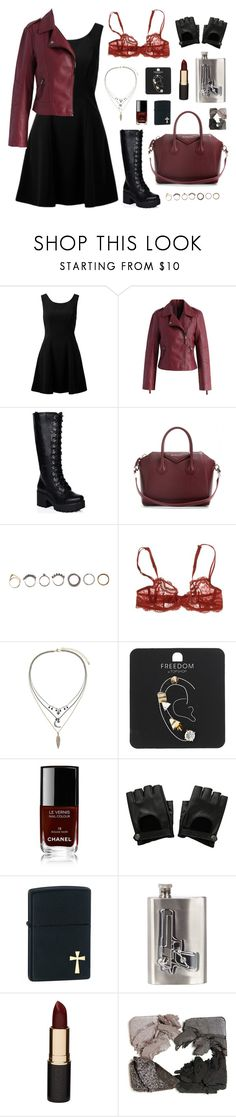"""""""daily outfit: saving people, hunting thing, family business. #4"""" by your-fair-lady ❤ liked on Polyvore featuring Forever New, Chicwish, SpyLoveBuy, Givenchy, Iosselliani, Simone Perele, Topshop, Chanel, Zippo and River Island"""
