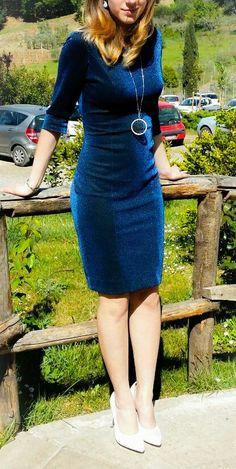 Elegant dress, autumn, winter, chic, silver shoes, bright blue, bright silver, night fantasy.