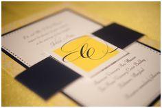 blue and yellow wedding invitation