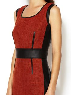 Lisa Sheath Dress with Faux Leather Combo by Lafayette 148 New York at Gilt