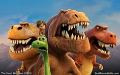 Pixar's The Good Dinosaur wallpaper hd featuring characters Arlo the Apatosaurus, Spot, Butch, Ramsey and Nash. The Good Dinosaur iphone wallpaper hd and wallpapers for android. Giant Dinosaur, The Good Dinosaur, Dinosaur Wallpaper, Cartoon Wallpaper, Pixar Movies, Disney Movies, Disney Art, Disney Pixar, Dinosaur Classroom