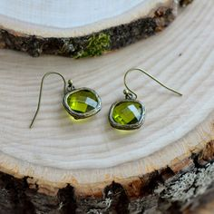 Moss Square Jewel Earrings  Antique Bronze Earring by Camphollow