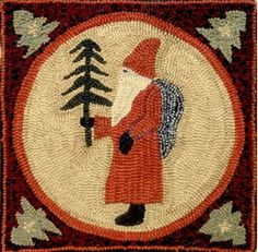 Christmas Rug Hooking Project. Purchase the pattern on paper or linen. visit my website at www.woolenfolkart.com
