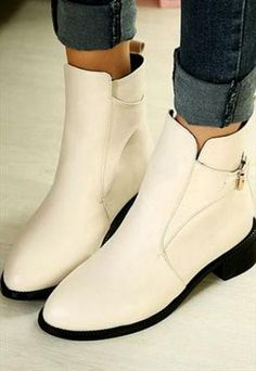Chic Apricot Colored Vintage Buckle Design Ankle Boots