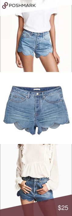 H&M • Scalloped high waisted shorts H&M high waisted scalloped denim shorts. Size 2. Super cute.  H&M Shorts Jean Shorts
