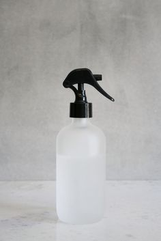 This small frosted glass misting bottle with black spray nozzle is perfect for natural homemade linen sprays, cleaners, misting plants, and for ironing! Glass Spray Bottle, Glass Bottles, Thing 1, Cold Cream, Linen Spray, Soap Dispensers, Water Glass, Mist Spray, Bath Accessories