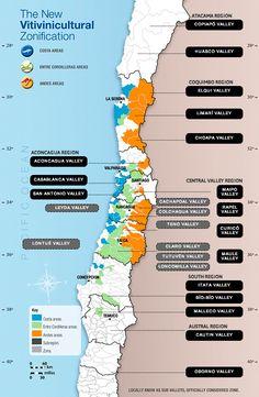 O mais novo e atualizado mapa das regiões vinícolas do Chile!
