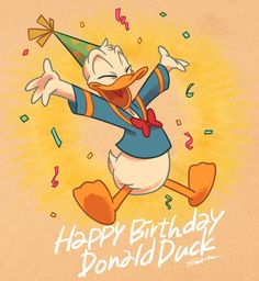 I draw for character merchandise Happy Birthday Disney, Birthday Cartoon, Cute Happy Birthday, Mickey Mouse Birthday, Donald Duck Party, Donald And Daisy Duck, Birthday Painting, Birthday Card Drawing, Disney Best Friends