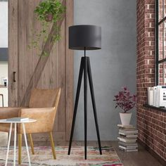 Features: Black option is more of a distressed black Product Type: Tripod IP Rating: 20 Number of Lights: 1 Voltage: 230 Dimmable: No Maximum Wattage Tall Floor Lamps, Floor Lamp Shades, Tall Lamps, Black Floor Lamp, Black Lamps, Table Lamps For Bedroom, Room Lamp, Living Room Decor, Bedroom Decor