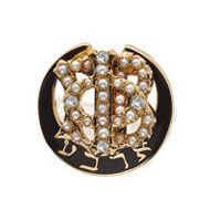 Herff Jones Polished Badge with Pearl Phi and Four Diamond Points - features 31 pearls and 4 diamonds! #GammaPhiBeta #HJGreek
