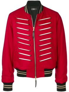 Red Appliqué Wool and Leather Bomber Jacket by Amiri Military Bomber Jacket, Bomber Jackets, Biker Jeans, Distressed Denim, Wool Blend, Adidas Jacket, Street Wear, Men Sweater, Women Wear