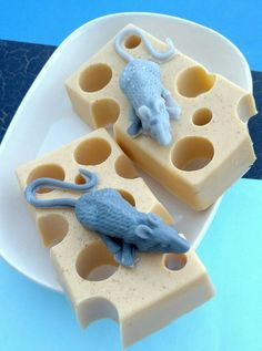 Mouse and Cheese Soap #sunbasilgarden #mice #mouse #Soap #geeks