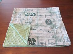 Green Star Wars Baby Blanket with Green Minky Fleece for Boys or Girls