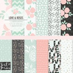 Mint pink and grey shabby chic digital paper pack. Wedding patterns for invitation cards. Love flowers chevron roses dots and vines. August 12 2015 at 09:58PM