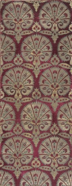 Textile Length  with Design of Stylized Carnations | LACMA Collections