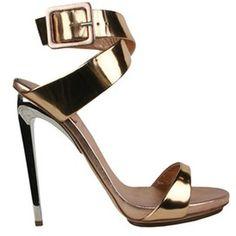 Giuseppe Zanotti Mirror Leather Sandal in Gold | Lyst