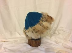 Beautiful Mongolian, Russian, Cossack, Norse, Celtic, viking hat, teal suede hat with two toned short fur