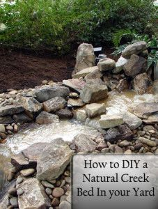 How to DIY a Natural Creek Bed in Your Yard. If I do it, it may have to be a dry creek bed. Outdoor Projects, Garden Projects, Jardin Decor, Dry Creek Bed, Water Features In The Garden, Gardening, Lawn And Garden, Garden Ponds, Dream Garden