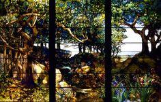 famous Tiffany stained glass panels, Art Nouveau style