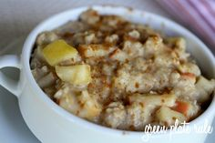 Apple Pie Oatmeal:  1 cup water  1 cup unsweetened non-dairy milk  2 apples, cored and chopped  1 cup rolled oats (I use Bob's Red Mill GF Oats)  1 tsp vanilla extract  1/2 tsp cinnamon  1/8 tsp nutmeg  1/8 tsp salt