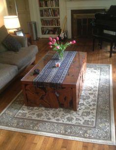 This teak burl mosaic coffee table from Gado Gado has found the perfect home. www.GadoGado.com