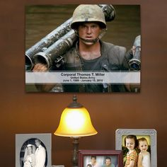 Personalized Military Memorial Photo Canvas. Our Personalized Digital Photo Memorial Canvas is the perfect photograph gift for family & friends to remember and honor a loved one. Our Personalized Photo Canvas Print features your favorite photo, transform your favorite military photo or portrait into a custom photo keepsake that