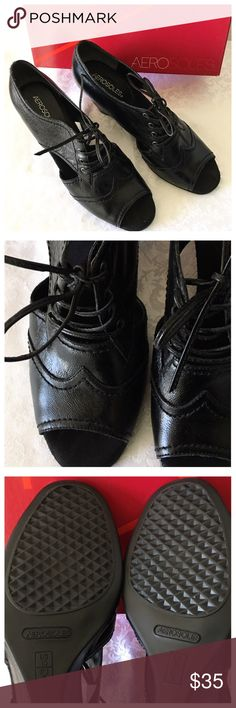 Aerosoles Peep Toe Wedge Shoes Worn a few times but in excellent condition. Little rub on the small heels see photos. Size 10M. Leather upper balance man made. If you have any questions please let me know AEROSOLES Shoes Wedges