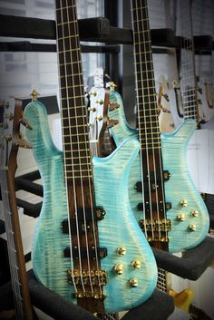 Beautiful #BASS - Framus & Warwick Streamer Stage I Bleached #Turquoise with  Blue Oil Finish and almost  quilt finish.