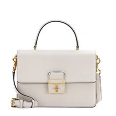 Dolce & Gabbana Rosalia Tumbled Calfskin Leather Tote ($2,055) ❤ liked on Polyvore featuring bags, handbags, tote bags, purses, neutrals, dolce gabbana tote, white handbags, dolce&gabbana, white tote bag and calfskin handbag