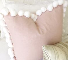 Linen Pillow Cover in Blush Linen with jumbo white Pom Pom trim. The perfect shade of blush / light pink / rose quartz Blush Linen on both sides Pom Poms in White Zipper Enclosure Pillow insert not included Rose Gold Room Decor, Rose Gold Rooms, Blush Pillows, Pink Throw Pillows, Blush Living Room, Applique Pillows, Light Pink Rose, Cricut, Rosa Rose