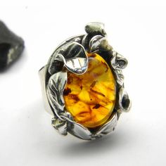 Statement ring Amber stone, leaves flowers setting sterling silver, hand made jewelry, Winter sale ,10% off. $75.00, via Etsy.