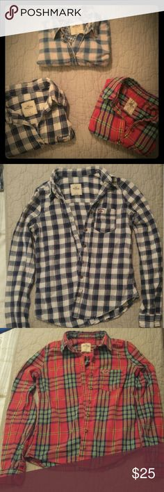 3 Hollister Flannel Shirts Size Small One red long sleeve flannel shirt, one pink and blue long sleeve flannel shirt, one blue and white long sleeve flannel shirt. Hollister  Tops Button Down Shirts
