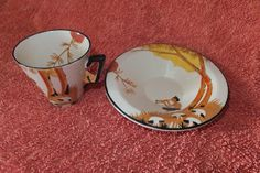 Burleigh Ware Art Deco Coffee Cup And Saucer (Pan Pattern) Coffee Cups And Saucers, Cup And Saucer, Tea Service, Teacups, Art Deco, Pottery, Clay, Tableware, Party