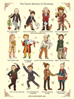 The Doctor Who 12 Days of Christmas xmas card by AliciaMB