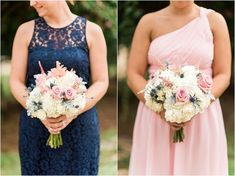 Mismatched navy blue and blush pink bridesmaid dresses from Donna Morgan | Stunning pink, white and gray bridesmaid bouquets by Southern Petals | Photographed by A.J. Dunlap Photography | The Oaks at Salem Summer Wedding on heartlovealways.com