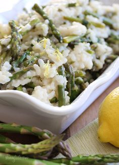 Spring Asparagus Risotto - Perfect as a meatless main dish if you use vegetable broth. #vegetarian