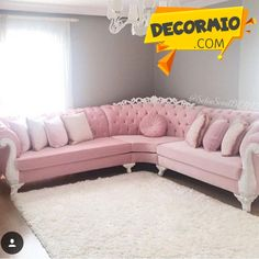 Stunning Ideas To Decorate Stylish Living Room Living Room Decor Curtains, Living Room Sofa Design, Home Living Room, Living Room Designs, Bedroom Decor, Home Decor Furniture, Luxury Furniture, Furniture Design, Pink Furniture