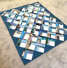 I Spy Quilt, Postage Stamp Quilt, String Quilts, Georgia On My Mind, Working On It, Blue Quilts, Sewing Studio, Quilt Top, Confessions