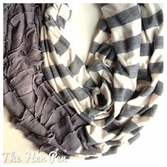 Handmade cowl infinity scarf ruffles and stripes gray and white / Perfect Christmas gift for her on Etsy, $18.00