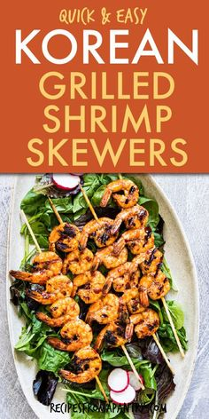 These Korean Grilled Shrimp Skewers are SO easy to make. The shrimp marinade with Gochujang paste is sweet, savory, tangy, spicy with an Asian flair. Learn how to grill shrimp skewers & see how quickly you can get dinner in under 15 minutes. You can even make these grilled shrimp kabobs in the Air Fryer or portable grill - the perfect summer grilling recipe for bbqs, picnics, lunches. Click thru for the best Grilled Shrimp Skewers recipe. #shrimpskewers #shrimpkabobs #summerrecipe #grill #shrimp Easy Potluck Recipes, Healthy Grilling Recipes, Summer Recipes, Easy Meals, Lunch Recipes, Keto Recipes, Grilled Shrimp Kabobs, Shrimp Marinade, Lobster Recipes