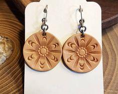 Hand Tooled Leather Earrings, Mandala Earrings, Round Earrings, Simple, Boho Jewelry, Handcrafted Leather Earrings