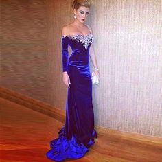 Sexy Long Sleeve 2016 Velvet Evening Party Dresses Royal Blue One Shoulder Crystal Backless Formal Celebrity Gowns ** Be sure to check out this awesome product.