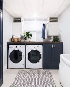 37 Beautiful Small Laundry Room Makeover Ideas - Its one of the most used rooms in the house but it never gets a makeover. What room is it? The laundry room. Almost every home has a laundry room and . Laundry Room Inspiration, Basement Laundry Room, Room Design, Laundry Mud Room, Room Storage Diy, Laundry Room Design, Unfinished Basement Laundry, White Laundry