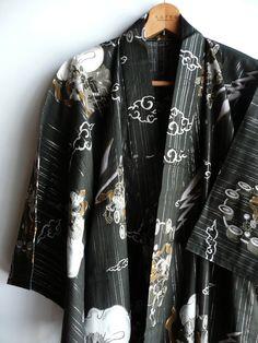 Cotton summer kimono men's Japanese vintage by WhatsForPudding