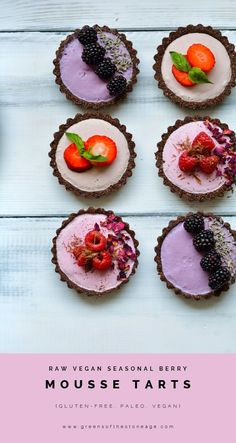 Seasonal Berry Mousse Tarts in support of the @british_berries 'Be Berry Bright' campaign. Raw chocolate biscuit based tarts with 3 tantalising flavoured raw mousse centres; Blackberry and Lavender, Raspberry and Rose, and Strawberry and Basil.